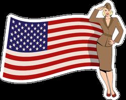 Retro US Army Girl Saluting Sticker