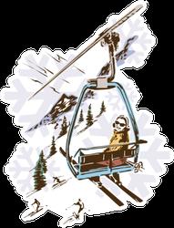 Retro Vintage Ski Lift Skiing Sports Sticker