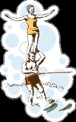 Retro Vintage Water Skiing Sports Sticker