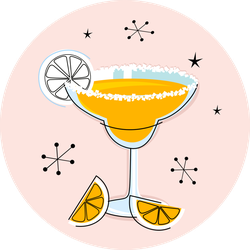 Retro Yellow Margarita Sticker