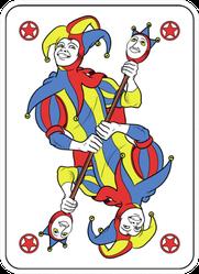 Reversible Joker Displayed Inside His Playing Card Sticker