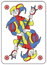 Reversible Joker Displayed Inside His Playing Card Sticker