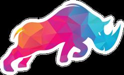 Rhino Colorful Logo Design Sticker