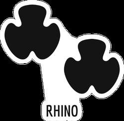 Rhino Feet Footprint Icon and Text Sticker