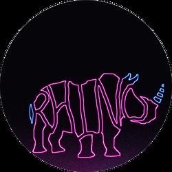 Rhino Written In The Shape Of A Rhino Neon Sticker
