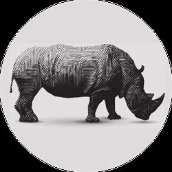 Rhinoceros Illustration Polygon Shape Line Art Sticker