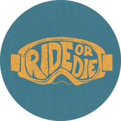 """""""ride Or Die"""" Painted By Hand Ski Goggles Sticker"""
