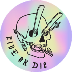 Ride Or Die  Skull With Skis And Poles Sticker
