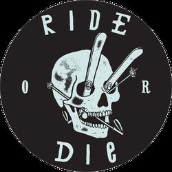 Ride Or Die - Vintage Skull Ski Print Sticker