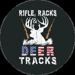 Rifle, Racks Deer Tracks Hunting Text Sticker