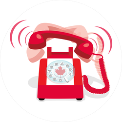 Ringing Red Phone With Flag Of Canada Sticker
