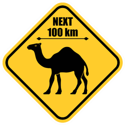 Road Sign - Attention Animal, Camels Crossing Sticker