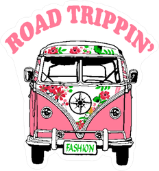 Road Trippin Pink Hippie Van Sticker