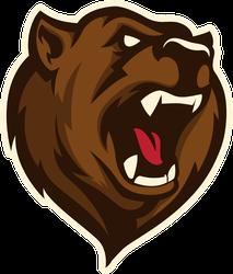 Roaring Bear Head Sports Mascot Sticker