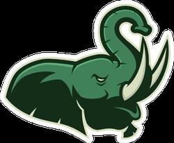 Roaring Elephant Head Sports Mascot Sticker