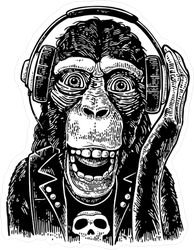 Rock and Roll Monkey Sticker