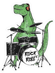 Rock Star Dinosaur Drummer Sticker
