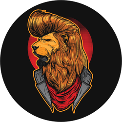 Rockabilly Lion With Cool Hair Sticker