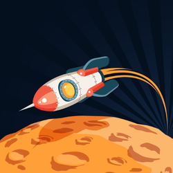 Rocket Flying Over the Moon Sticker