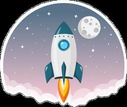 Rocket Flying To The Moon Purple Sky Sticker