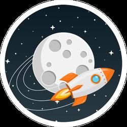 Rocket Orbiting the Moon Sticker