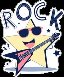 Rocking Illustration Star Sticker