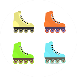 Roller Skates In Flat Style Sticker