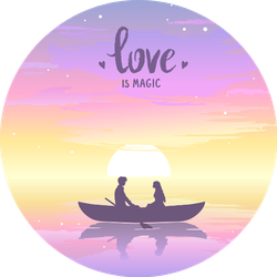 Romantic Silhouette Of Loving Couple At Sunset In A Boat Sticker