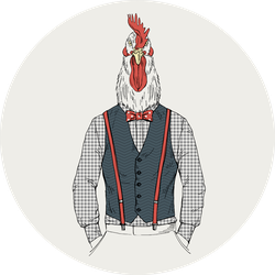 Rooster Chicken Dressed Up In Retro Style Sticker