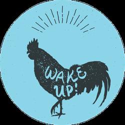 Rooster Chicken Hand Drawn Silhouette Wake Up Sticker