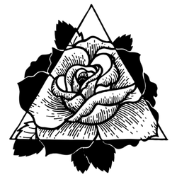 Rose Flower With Sacred Geometry Frame Tattoo Sticker