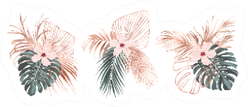 Rose Gold Tropical Palm Leaves Sticker