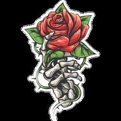 Rose In Human Skeleton Hand Tattoo Sticker
