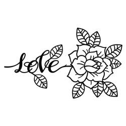 Rose Tattoo With Love Lettering Sticker