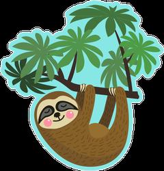 Rosy Cheeks Sloth Hanging On Tree Branch Sticker