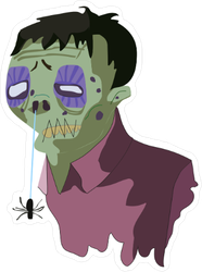 Rotting Green Zombie and Spider Sticker