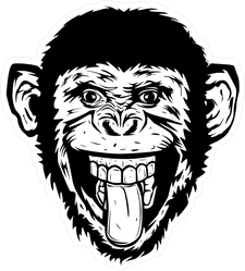 Rough Sketch Monkey With Tongue Out Sticker