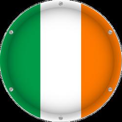 Round Metallic Flag Of Ireland Sticker