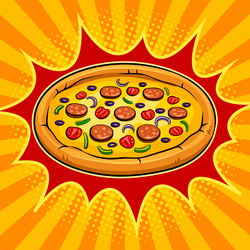 Round Pizza Pop Art Retro Sticker