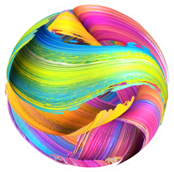 Round Shape Made Of Abstract Brush Strokes Sticker