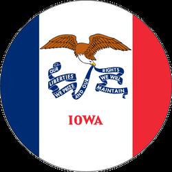 Round State Flag Of Iowa Sticker