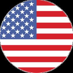 Round United States Of America Flag Sticker