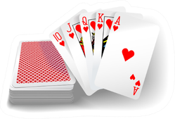 Royal Flush Hearts Five Card Poker Hand Sticker