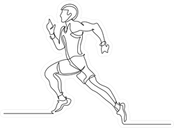 Runner Continuous Line Drawing Sticker