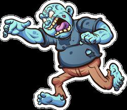 Running And Screaming Cartoon Zombie Sticker
