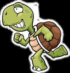 Running Cartoon Turtle Sticker