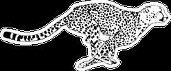 Running Cheetah Drawn With Ink Sticker