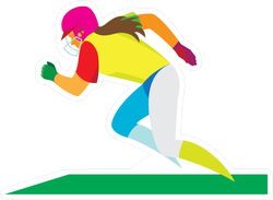 Running Softball Player On The Field Sticker