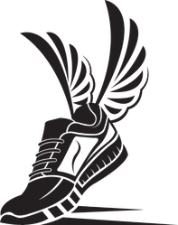 Running Sport Shoe With Wings Sticker