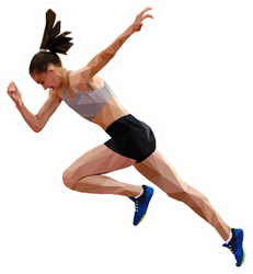 Running Woman Sprinter Polygonal Style Sticker